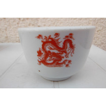 Vaso Oriental Porcelana Red Dragon Taiwan Cocina Restaurant