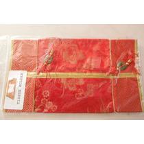 Forro Bordado Para Pañuelos Oriental Tradicional China Rojo