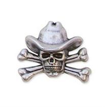 Vaquero Concho - Cráneo Y Bandera De 1-1 4-inchx 1-inch Lea