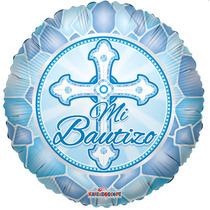 5 Globos Metalicos Azul Mi Bautizo Niño 18 Pulgadas, Fiesta