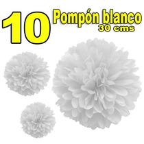 10 Pompón Esfera Papel China Blanco 30cms Decoración Fiestas