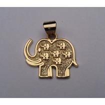Dije De Los 7 Elefantes De La Fortuna En Chapa De Oro 18 K