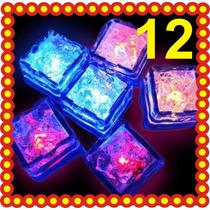 12 Hielos Luminosos Led Luz Fiesta Boda Xv Dj Bar Cubos