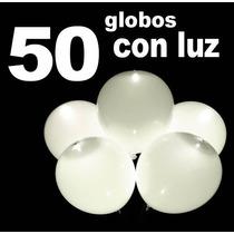 50 Globos Con Luz Led Blancos Decoracón Fiestas Boda Eventos