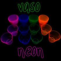 20 Vasos Neon Plastico Fiesta Luz Negra Black Uv Luminosos