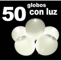 50 Globos Led Color Blanco, Hielos,bodas,bautizo.fiesta, Vv4