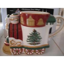 Christmas Tree Village Engine Mug Taza Tarro Tren Porcelana