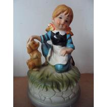 Figura Musical Girl With Dog Souvenir Japon Vintage Retro