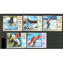 0924 Olimpiadas Invierno 88 Lao 5 Sellos C T O N H 1988