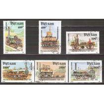 1991 Vietnam Trenes Locomotoras Antiguas 6 Sellos Precancela