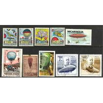 0466 Globos Aereostaticos Lotecito 9 Sellos Usados Modernos
