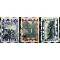 1635 Paisajes Casas Congo Belga 3 Sellos Usados 1937-38