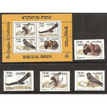 Estampillas Israel Aves Biblicas, Aguila Buho Alcon Buitre