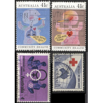 1792 Cruz Roja Australia 4 Sellos Usados Modernos