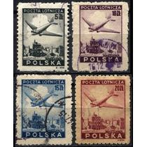 2912 Polonia Castillos Avión Scott# C13 4 S Usados L H 1948