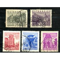 0528 Castillos Austria 5 Sellos Usados 1930-75