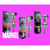 Audifonos Marvel 2x1 Spiderman Ironman Punisher Metalicos