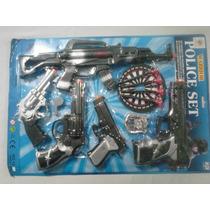 Set Gigante De Policía 6 Pistolas Dardos Diana Silba Placa