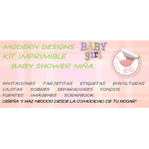 Kit Imprimible Baby Shower Niña Invitaciones Recuerdos