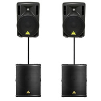 Kit 2 Bafles 15 + 2 Subwoofer Activos Behringer 3900w Matrix