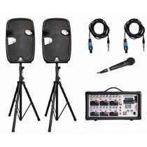 Kit Bafles Profesionales 2000w Mezcladora Microfono Bobina