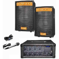 Kit Mezcladora Amplificada 8ch Usb Display 2 Bafles 15