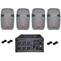 Kit Mezcladora Amplificada 1600w + 4 Bafles Bocinas 10 Kaise