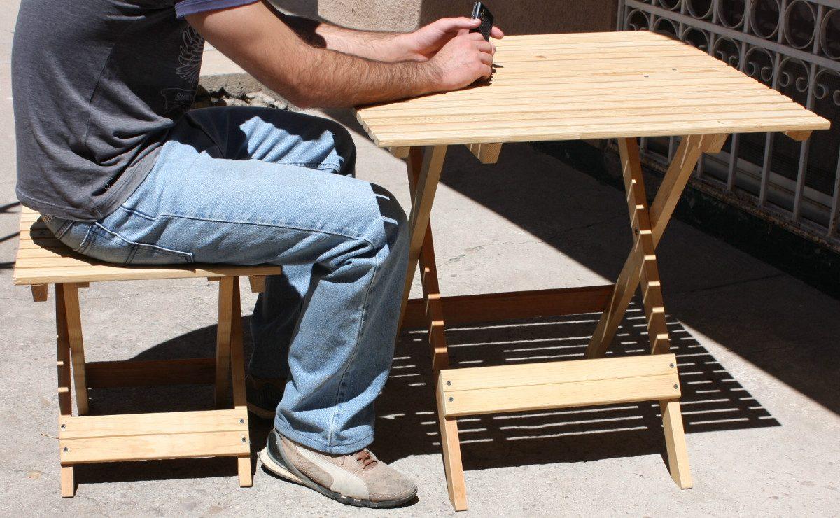 Juego de jard n mesa y bancos plegables nuevo oferta for Mesa banco madera jardin