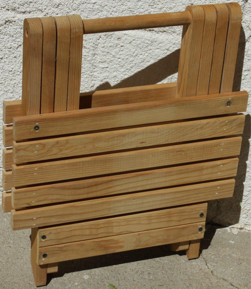 Banco de jard n mueble plegable madera jardin interiores for Bancos de madera para jardin