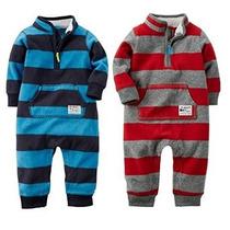 De Carter Niños Bebés 2 Paquete De Rugby Stripe Fleece Mono
