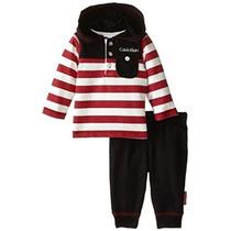 Calvin Klein Bebé-boys Recién Nacidos Rayas Rojas Con Capuch