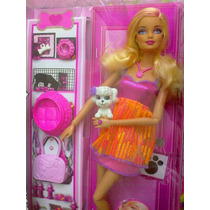 Barbie Fashionista Con Mascota Y Accesorios Color Rosa