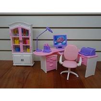 Barbie Tamaño Dollhouse Muebles- Gabinete Lámpara Ordenador