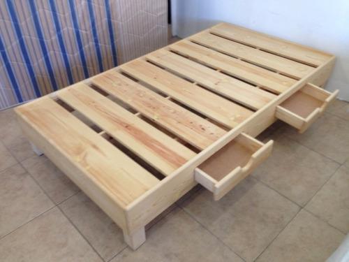 Base de cama individual madera sencilla 1 en for Base para cama individual precios