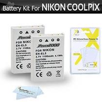 Kit De 2 Paquete De Baterías Para La Cámara Nikon Coolpix P1