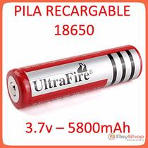Batería Pila 18650 Recargable, Ultrofire 3.7v, 5800mah Litio