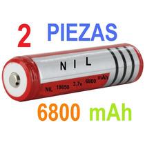 2 Baterias Pilas 3.7v Marca N I L C/6.8 Ah! Recargable 18650