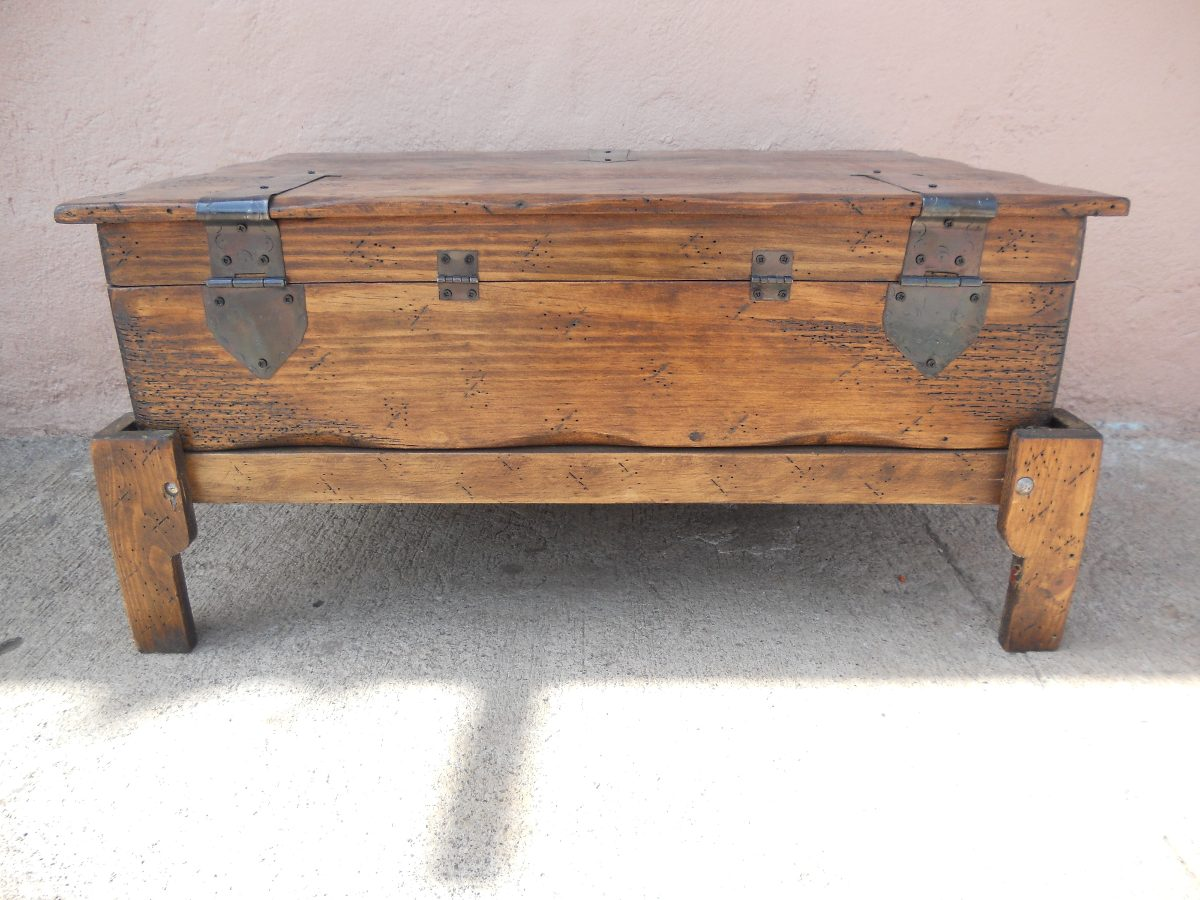 Ba l r stico mesa madera de pino apolillada excelente - Mesa madera pino ...