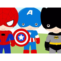 Kit Imprimible Pequeños Super Heroes Candy Bar Tarjetas 2x1