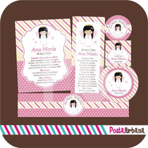 Kit Bautizo Angelita Imprimible / Invitaciones / Recuerdos