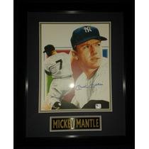 Litografia Autografiada Mickey Mantle New York Yankees Mlb