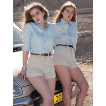 Short De Moda American Apparel Cintura Alta Beige