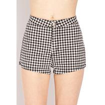 Shorts Cuadros Blanco Con Negro Forever 21 Nuevo