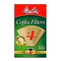Melitta Cono Café Filtros Natural Brown # 4 100 Recuento