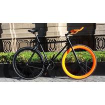 Bicicleta Fixie 700 Negro Mate - Naranja