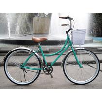 Bicicleta Retro Vintage R26 Mujer Verde