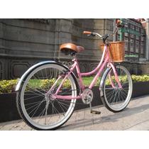Bicicleta Retro Vintage R24 Rosa Canastilla Mimbre