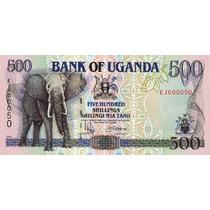 Grr-billete De Uganda 500 Shillings 1996 - Elefante