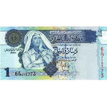 Grr-billete De Libia 1 Dinar 2004 - Muammar Al-gaddafi