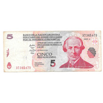 Billete Argentina 5 Pesos (2001) Banco De La Nacion Lecop